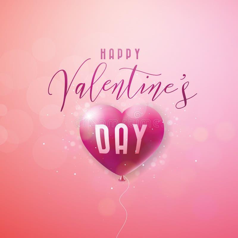 Glückliches Valentinsgruß-Tagesdesign mit rotem Ballon-Herzen und Typografie-Buchstabe auf rosa Hintergrund Vektor-Hochzeit und L lizenzfreie abbildung