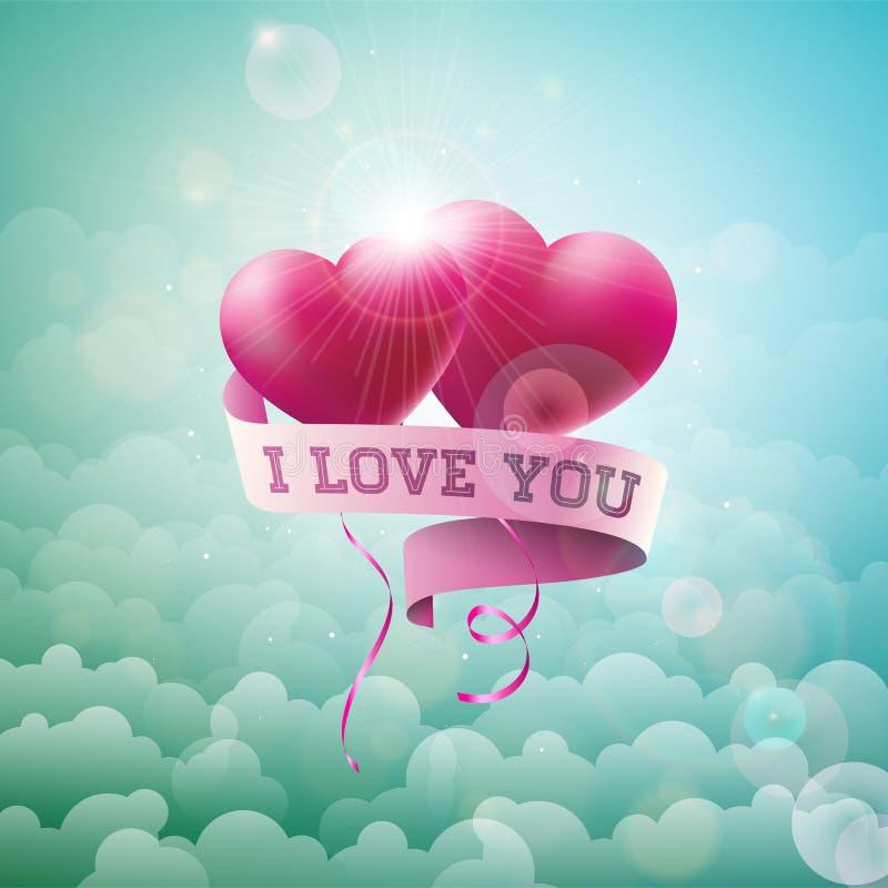 Glückliches Valentinsgruß-Tagesdesign mit rotem Ballon-Herzen und Typografie-Buchstabe auf Wolken-Himmel-Hintergrund Vektor-Hochz vektor abbildung