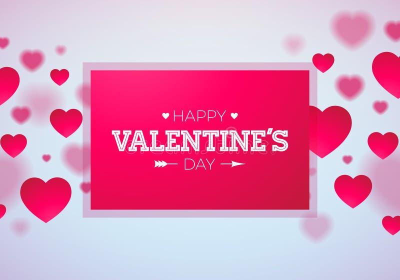 Glückliches Valentinsgruß-Tagesdesign mit rotem Herzen auf glänzendem hellem Hintergrund Vektor-Hochzeit und Liebes-Thema-Illustr stock abbildung