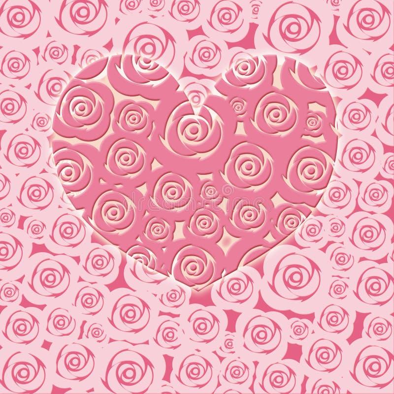 Glückliches Valentinsgruß-Tagesinneres mit rosafarbenen Rosen vektor abbildung