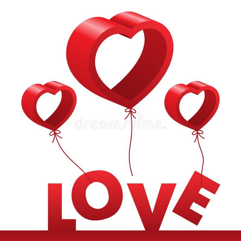 Glückliches Valentinsgrußtagesgruß-Kartendesign mit Form a des Herzens 3d vektor abbildung