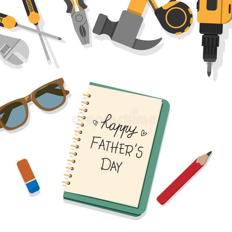 Glückliches Vater ` s Tageswort schreiben durch Bleistift auf Buchseite mit Spitzengrenze von den Hauptwerkzeugen, die auf weißen lizenzfreie abbildung