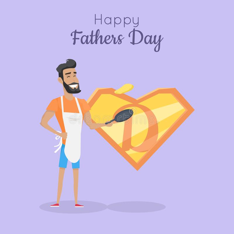 Glückliches Vatertagsplakat Vati-großer Kocher stock abbildung