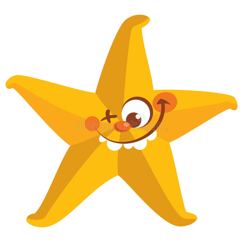 Glückliches verrücktes gelbes Gesicht Starfish-Zahnlächeln stock abbildung