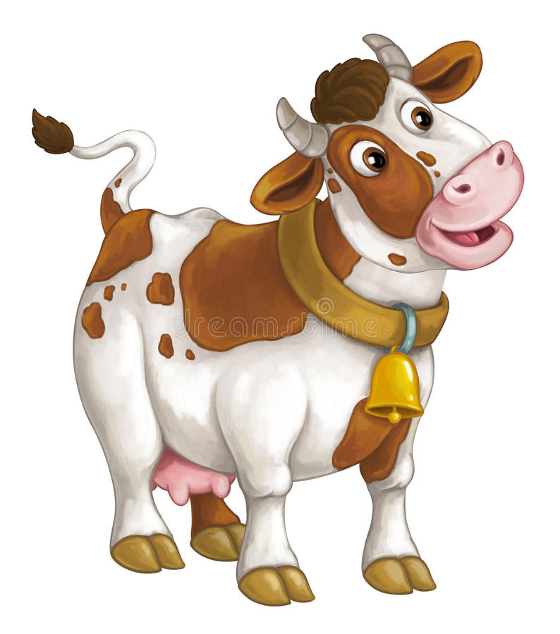 Glückliches Vieh der Karikatur - nette Kuh steht lächelnd und schauend - künstlerische Art - lokalisiert vektor abbildung