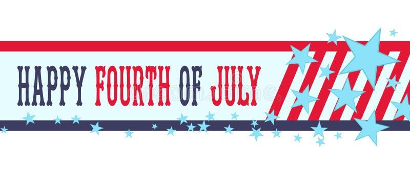 Glückliches Viertel von Juli-Fahne mit Sternenbanner USA-Unabhängigkeitstag oder 4. von Juli-Dekoration lizenzfreie abbildung
