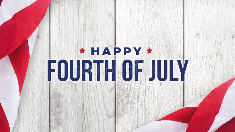 Glückliches Viertel von Juli-Text über weißem Holz und amerikanischen Flaggen vektor abbildung