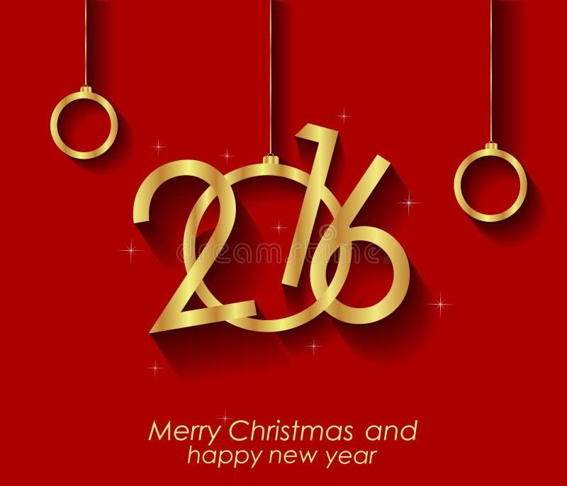 2016 glückliches Weihnachts-und guten Rutsch ins Neue Jahr-Hintergrund lizenzfreie abbildung