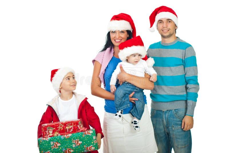 Glückliches Weihnachtsfamilie stockfotos
