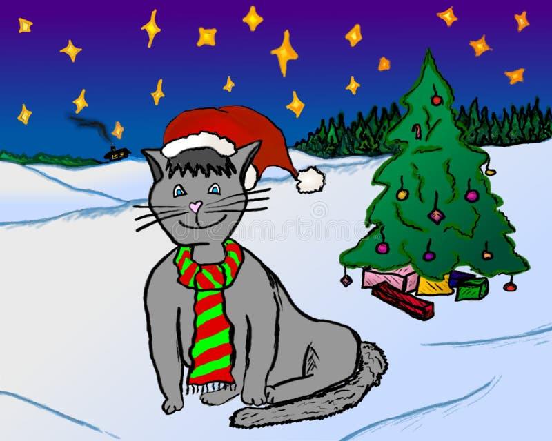 Glückliches Weihnachtskatze mit Weihnachtsbaum stockbilder