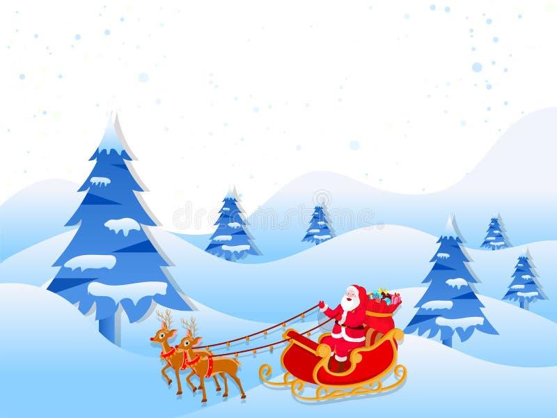Glückliches Weihnachtsmann-Reiten auf Pferdeschlitten auf Winterlandschaft-backgrou vektor abbildung