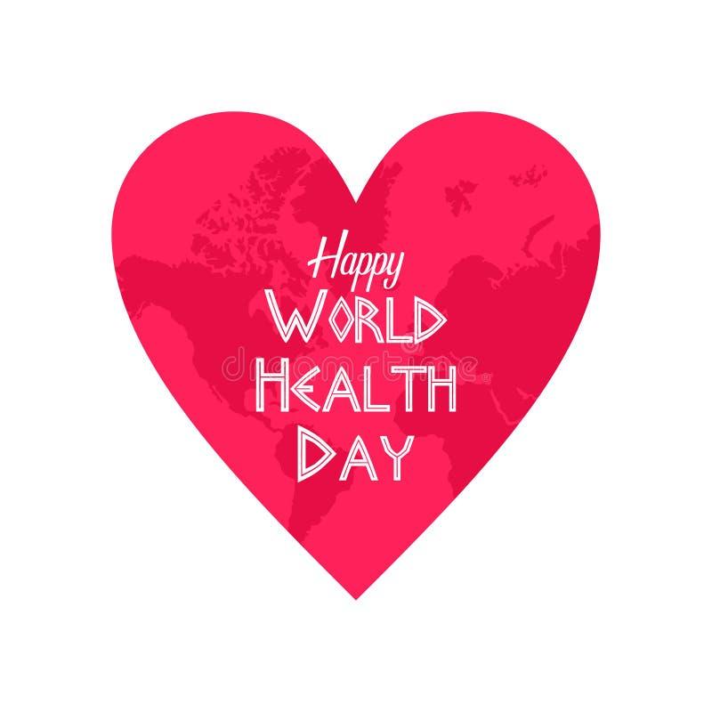 Glückliches Welt-Gesundheitstag-clipart mit einem Liebeszeichen vektor abbildung