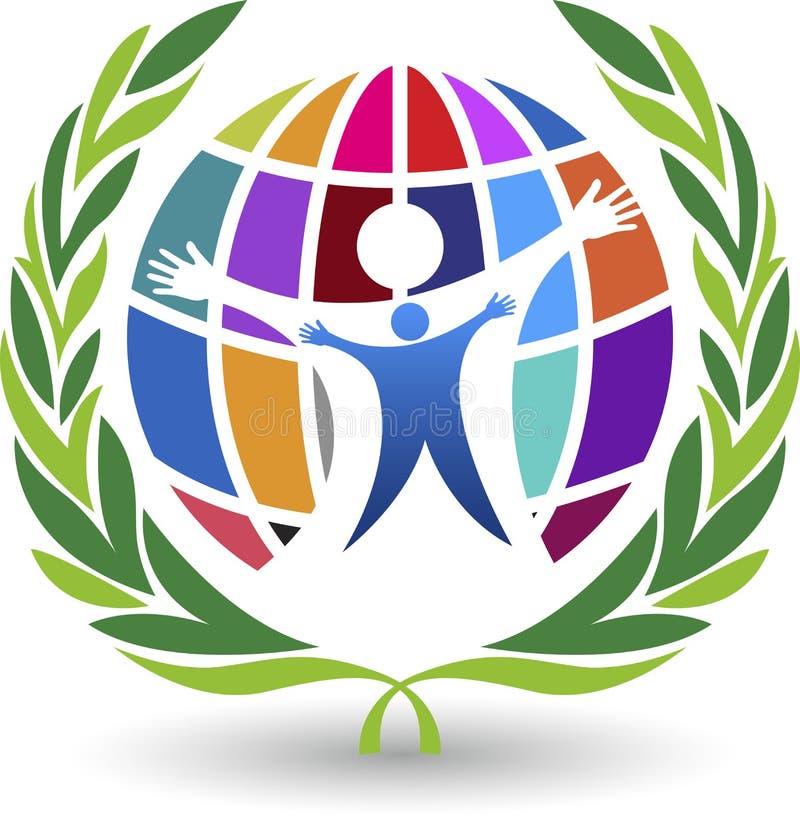 Glückliches Weltlogo lizenzfreie abbildung