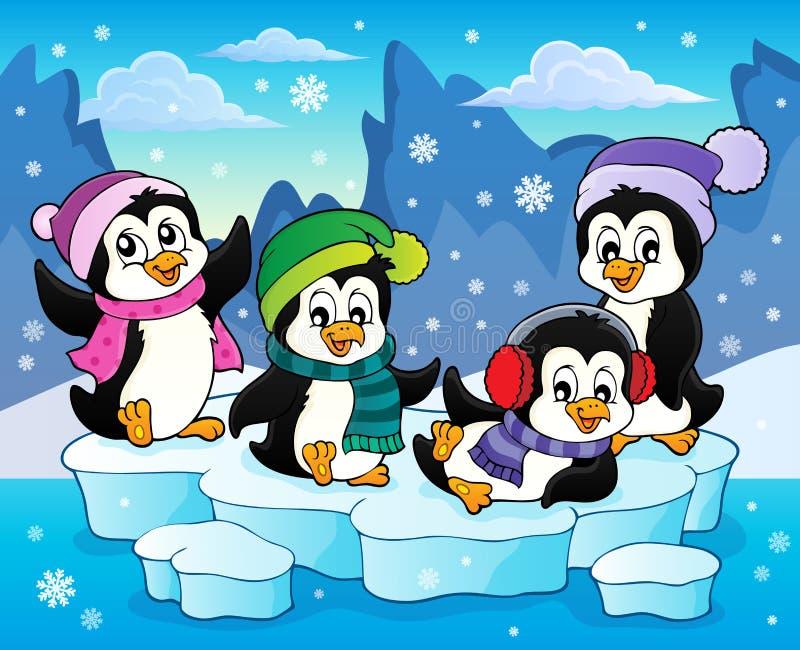Glückliches Winterpinguin-Themabild 2 stock abbildung