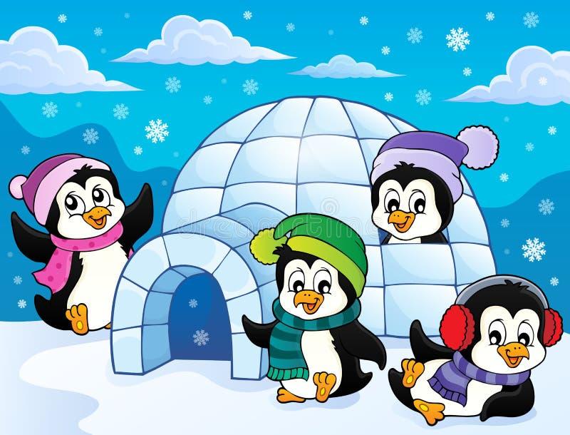 Glückliches Winterpinguin-Themabild 3 stock abbildung