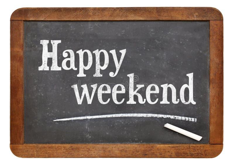Glückliches Wochenende auf Tafel lizenzfreie stockfotografie