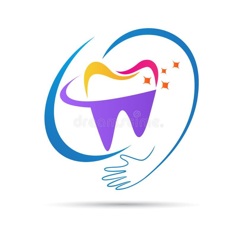 Glückliches zahnmedizinisches Logo der medizinischen Behandlung vektor abbildung