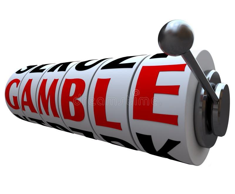 Glücksspiel-Wort auf Spielautomat-Rädern lizenzfreie abbildung