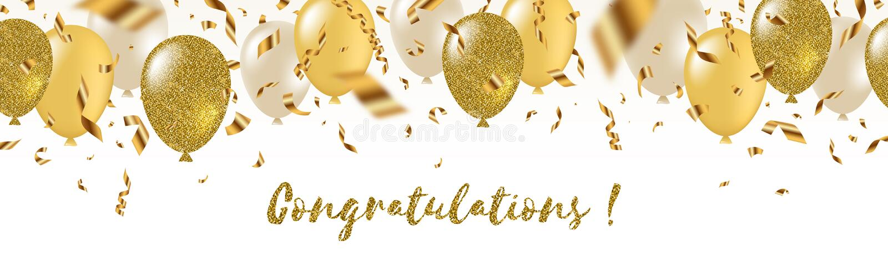 Glückwünsche - feierliche Grußfahne - weiß, Gelbe, Funkelngoldballone und goldene Folienkonfettis vektor abbildung