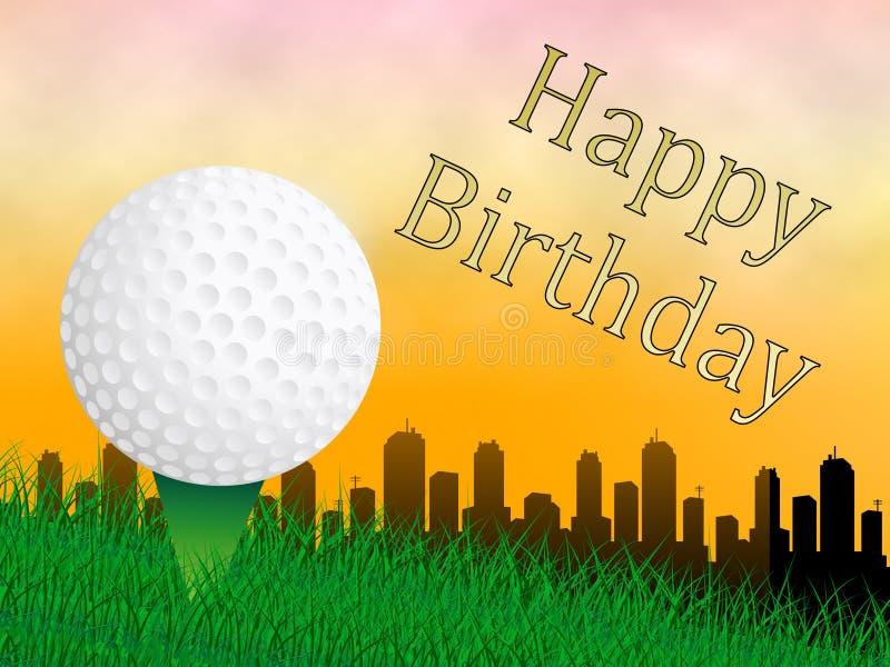 Glückwunsch zum Geburtstag Golf-Nachricht als Überraschung Gruß für Golfer - 3d Illustration vektor abbildung