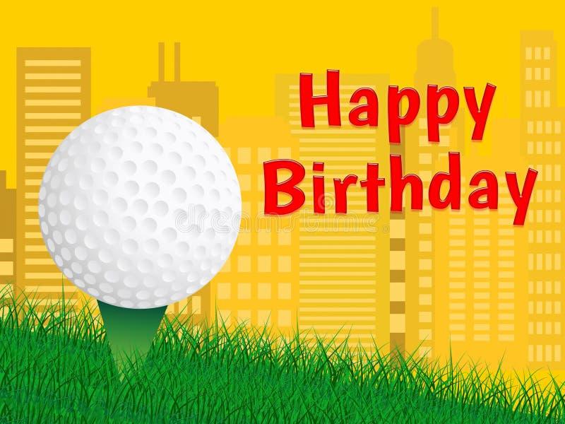 Glückwunsch zum Geburtstag Golf-Nachricht als Überraschung Gruß für Golfer - 3d Illustration stock abbildung