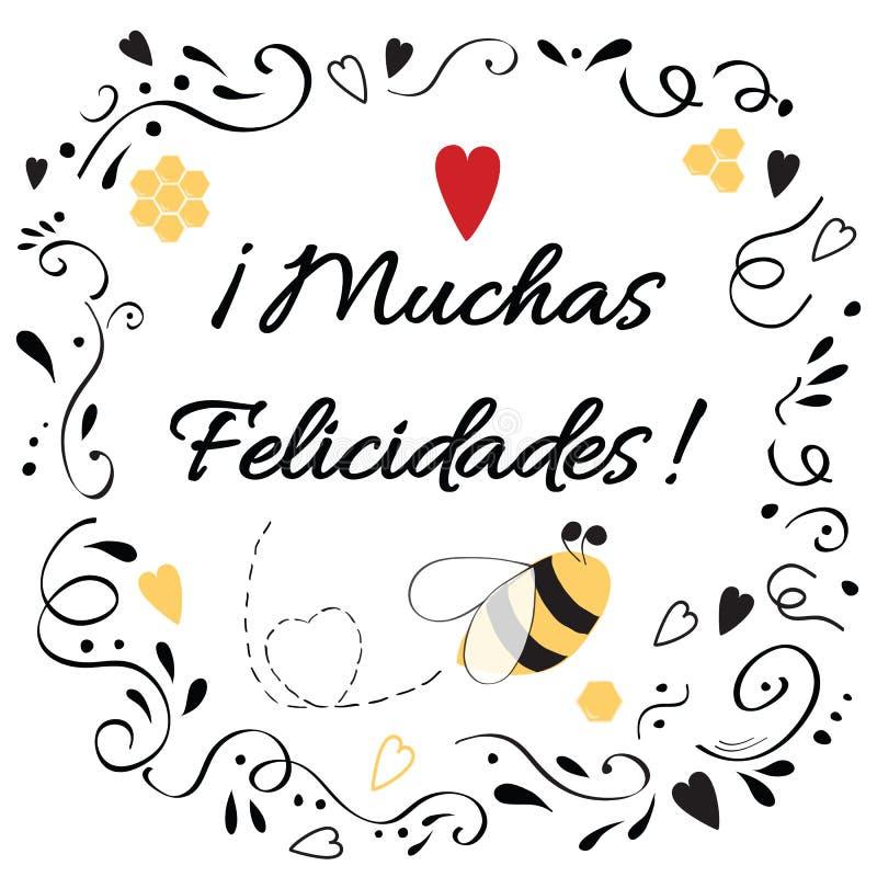 Glückwunschgestaltungselement mit Text beglückwünschen Titel auf spanisch lizenzfreie abbildung