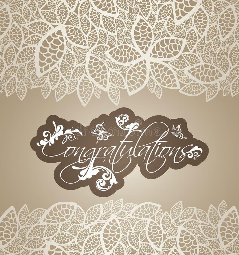 Glückwunschgrußkarten-Blumenstrudel mit Spitze lässt bor lizenzfreie abbildung