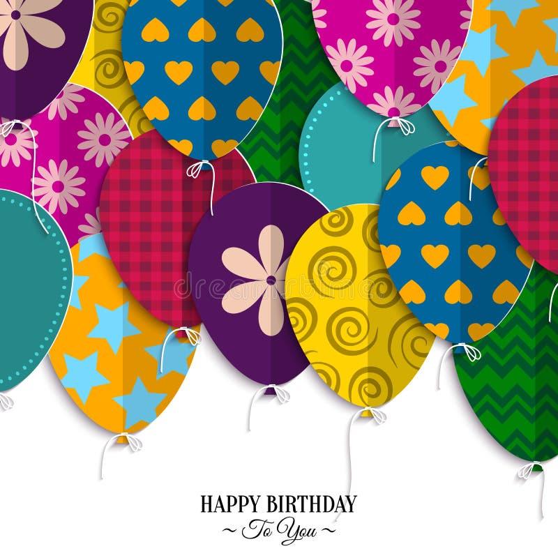 Glückwunschkarte mit Papierballonen und Geburtstag vektor abbildung