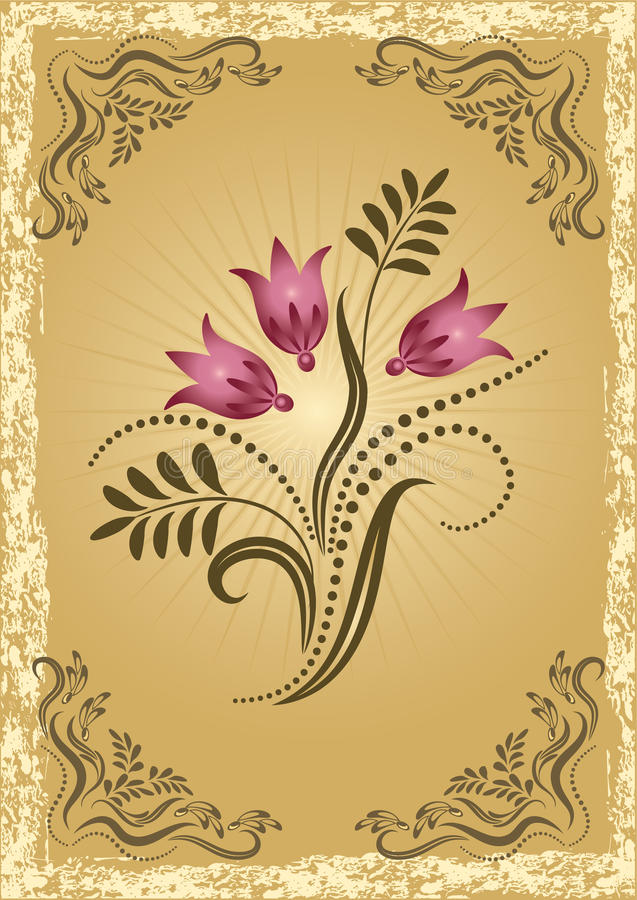 Glückwunschkarte mit Wiesenblumen lizenzfreie abbildung