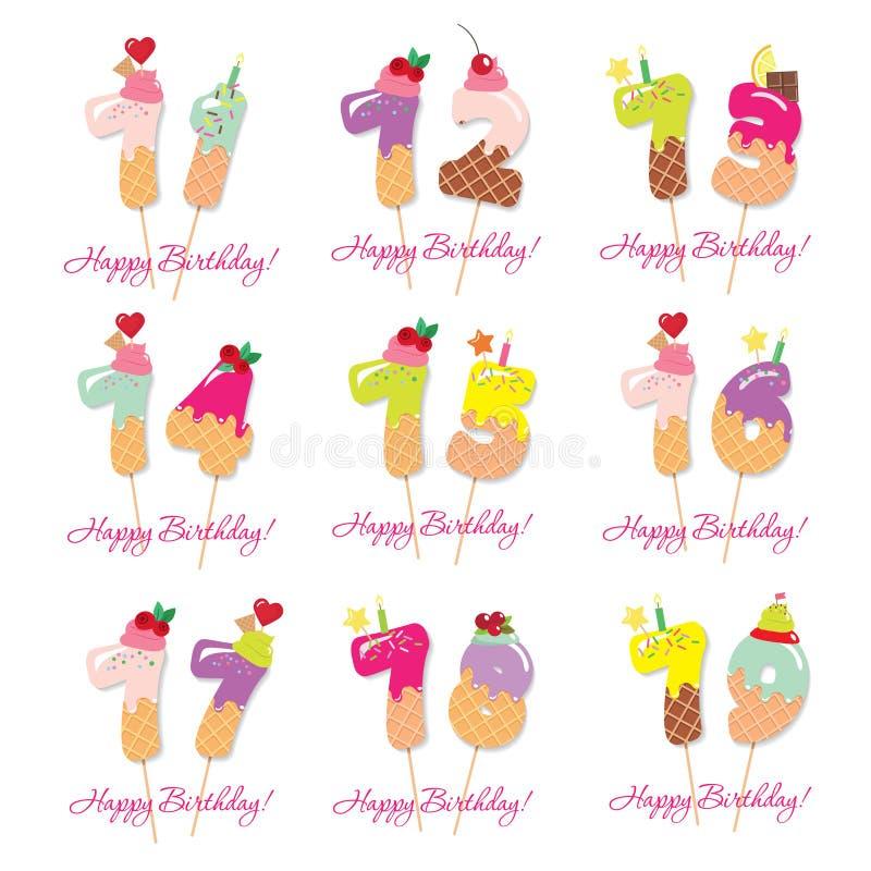 Glückwunschkartesatz Festliche Bonbonzahlen von 71 bis 79 Coctail-Strohe Lustige dekorative Charaktere Vektor lizenzfreie abbildung