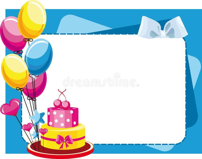 Glückwunschkuchen mit Ballonen für Geburtstag und lizenzfreie abbildung