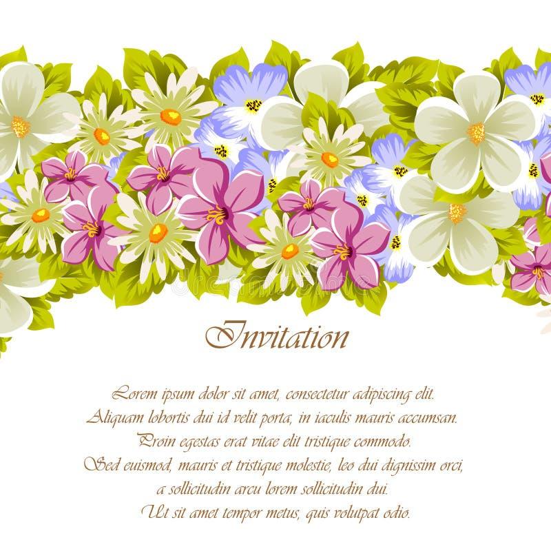 Glückwunschrahmen von Blumen Für Designbeschaffenheiten Postkarten, Grußkarten für Geburtstag, Hochzeit, Valentinsgruß ` s Tag, F lizenzfreie abbildung