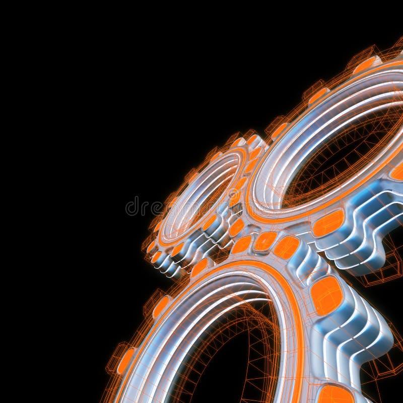 Glühen drei digitale Gänge lizenzfreie abbildung