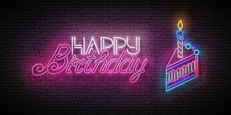 Glühen-Gruß-Karte mit Stück der Kuchen-, Kerzen-und alles- Gute zum Geburtstagaufschrift stock abbildung