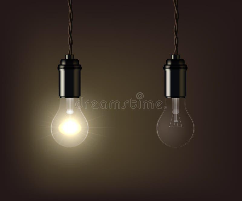 Glühen und geschaltet weg von der Lampe lokalisiert auf braunem Hintergrund Auch im corel abgehobenen Betrag stock abbildung