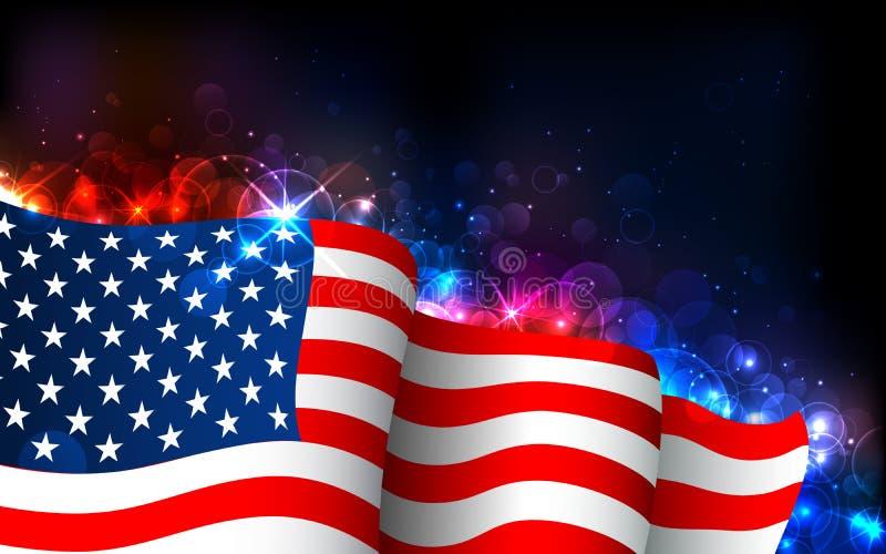Glühende amerikanische Flagge stock abbildung