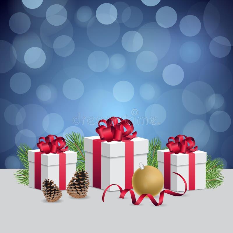 Glühende blaue bokeh Hintergrund- und Weihnachtsgeschenkboxen mit Dekorationsball lizenzfreie abbildung