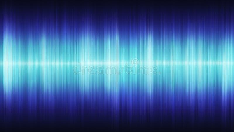 Glühende blaue kosmische Schallwellen auf einem schwarzen Hintergrund lizenzfreie abbildung
