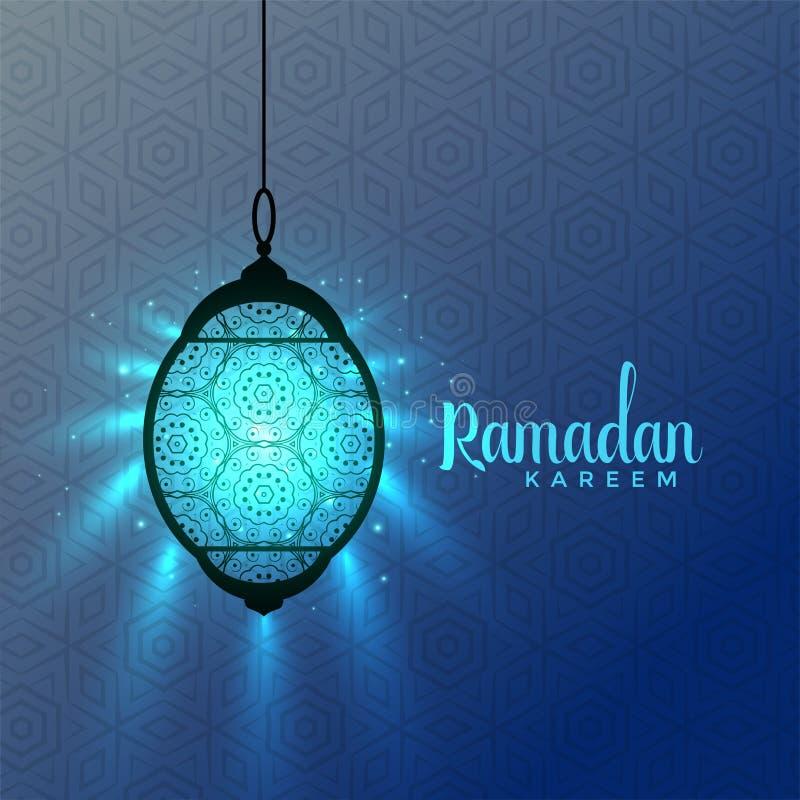Glühende blaue Laternen, Ramadan-kareem Gruß stock abbildung
