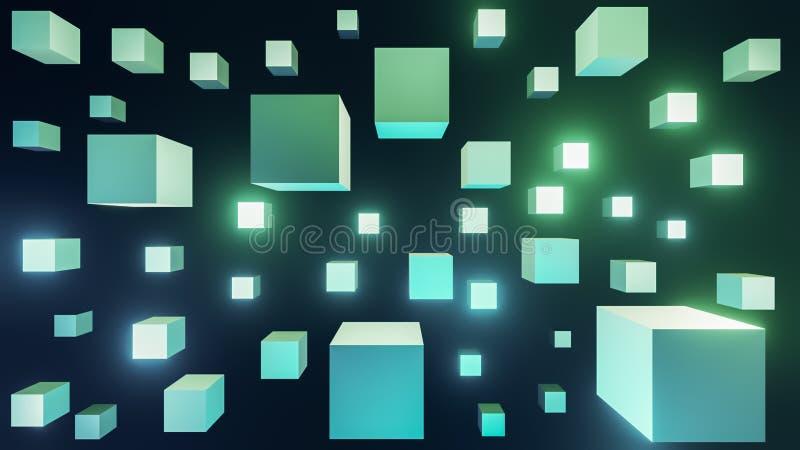 glühende 3d grüne und blaue Würfel extrahieren futuristischen Hintergrund stock abbildung