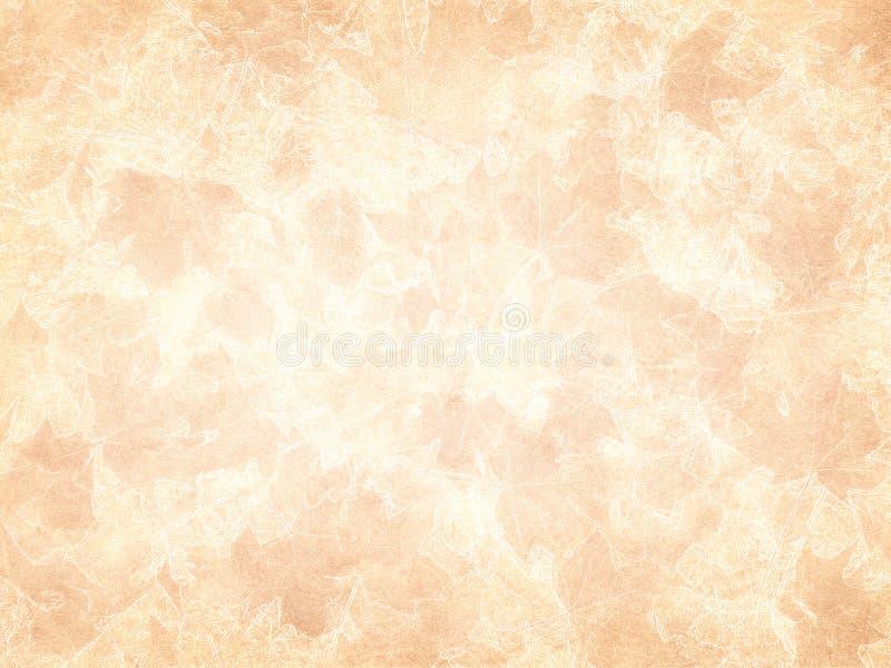 Glühende Drucke des Herbstlaubs auf gealtertem Papier lizenzfreie stockfotografie
