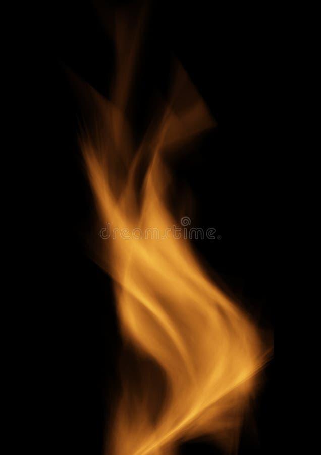 Glühende Flamme des brennenden Feuers über schwarzem Hintergrund vektor abbildung