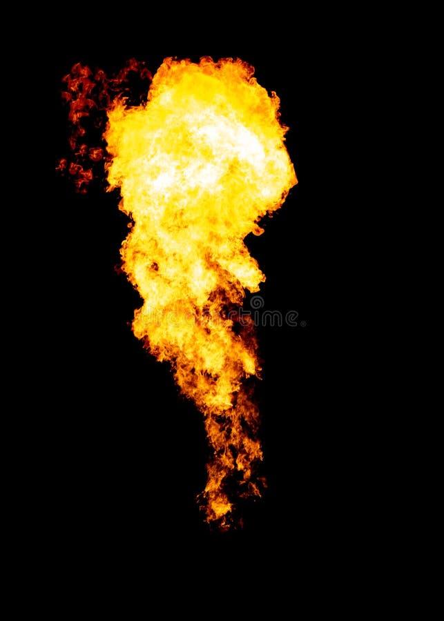 Glühende Flammenwolke, Feuer lokalisiert auf Schwarzem stockbilder