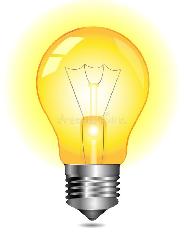 Glühende gelbe Glühlampe lizenzfreie abbildung