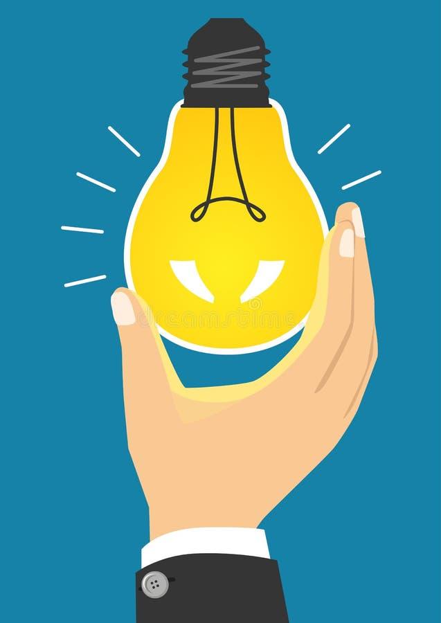 Glühende gelbe Glühlampe, nachdem eingeschaltet werden lizenzfreie abbildung