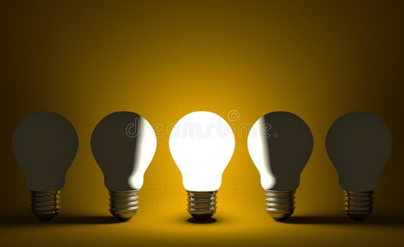 Glühende Glühlampe in der Reihe von geschaltet weg von einen auf Gelb. Vorderansicht lizenzfreie abbildung