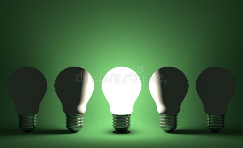 Glühende Glühlampe in der Reihe von geschaltet weg von einen auf Grün. Vorderansicht vektor abbildung