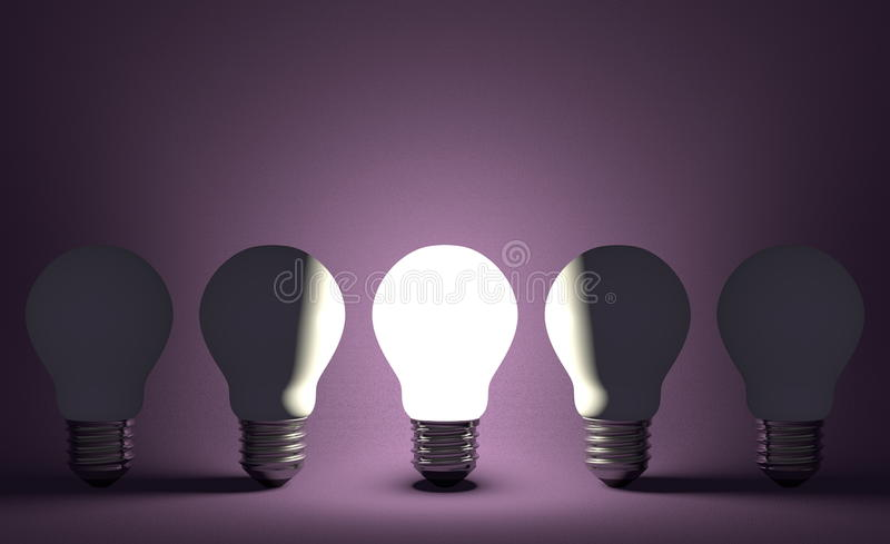 Glühende Glühlampe in der Reihe von geschaltet weg von einen auf Veilchen. Vorderansicht vektor abbildung