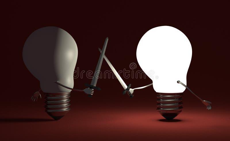 Glühende Glühlampe, die gegen geschaltet weg von einer auf Rot kämpft vektor abbildung