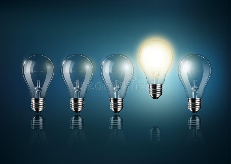 Glühende Glühlampe gehört zu vielen abgestellten Glühlampen auf dunkelblauem Hintergrund, Konzeptidee, transparenter Vektor stock abbildung